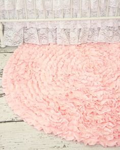 How sweet is this ruffle rug for a pink vintage inspired nursery?