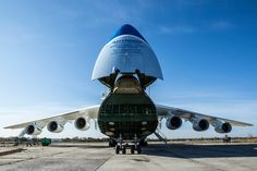 The AN-225, a heavy-lift plane, was used in the late 1980s to transport railroad cars and battle tanks. Credit Brendan Hoffman for The New York Times