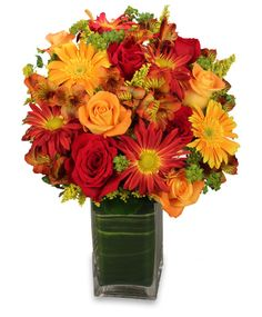 Beautiful Fall Arrangement With Yellow Gerberas Red And Orange Roses Rust Chrysanthemums