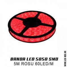 Banda LED smd 5050 12v rosu ip65 waterproof impermeabila banda cu leduri 5050 monocroma o singura culoare rosu sibiu romania livrare 24 ore