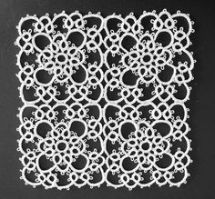 Tatted mat. Good pattern to make into any size rectangle or square doily.
