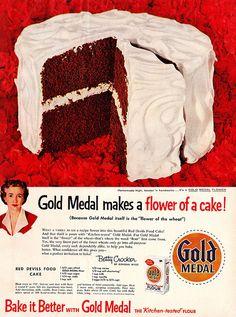 An early take on Red Velvet Cake: Betty Crocker's Red Devil's Food Cake.