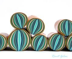 Polymer clay millefiori cane Turquoise green and by RonitGolan