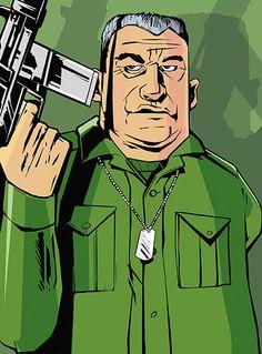 Phil Cassidy - GTA 3 - Grand Theft Auto III - 10 th anniversary San Andreas Grand Theft Auto, Grand Theft Auto 3, Rockstar Games Gta, Gta 5 Money, Nostalgic Art, Traditional Artwork, Post Apocalypse, Cartoon Characters, Fictional Characters
