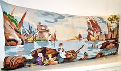 Huge French Vintage Sailing Ships Harbour Oyster by Retrocollects