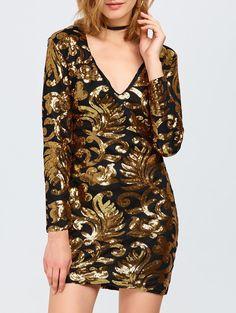 V Neck Sparkly Bodycon Mini Dress