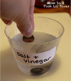 Clean coins: 1/2c vinegar + 2tsp salt, let them sit in for 10mins and rinse
