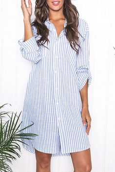 SHARE & Get it FREE | Stylish Turn Down Collar Long Sleeve Blue Stripes Women's ShirtFor Fashion Lovers only:80,000+ Items • New Arrivals Daily • Affordable Casual to Chic for Every Occasion Join Sammydress: Get YOUR $50 NOW!