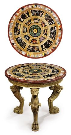 A EARLY VICTORIAN GILTWOOD, SPECIMEN MARBLE AND PIETRE DURE CENTRE TABLE THE TOP PROBABLY ROMAN, MID-19TH CENTURY