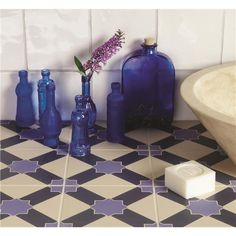 Alhambra Indigo and Dark Blue on White Tile - can be used as floor tiles.