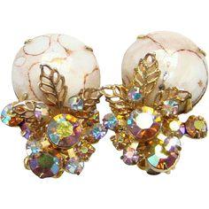 Juliana Cabochon Matrix Aurora Borealis Topaz Rhinestone Clip Earrings 1964 Book Piece