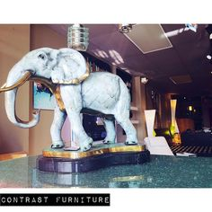 Bronze Elephant Statue on Marble Base  An aesthetic masterpiece!  The epitome of perfection  A great addition for enhancing the ambiance but simultaneously maintaining the balance and harmony of any room of your home or business  Shop with us: CONTRAST FURNITURE Pompano Beach…