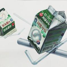 우유 & 빨대(플라스틱)