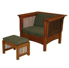 Solid Wood Amish Made Club Chair wit ottoman. Choice of fabric and stains to match any home decor.