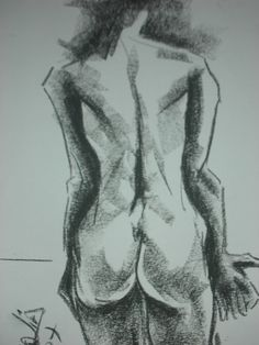 """ Serie de desnudos ""  Carboncillo - Dibujo de Rosalía M. Aba - - Ros Maba -"