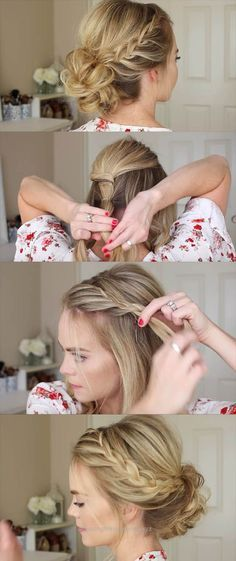 Great 24 Beautiful Bridesmaid Hairstyles For Any Wedding – Lace Braid Homecoming Updo Missy Sue – Beautiful Step by Step Tutorials and Ideas for Weddings. Awesome, Pretty How To Guide and Brid ..