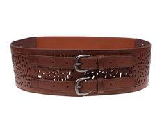 Herebuy - Vintage Leather Elastic Waist Belt Fashion Wide Belts for Women (Brown) $9.29