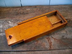 Vintage Wooden Pencil Box - Handmade Box - Small Wooden Box - Rustic Jewelry Box