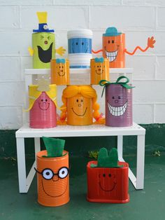 DIY Little Miss & Mr Men tin can decorations made for my daughter's Little Miss Sunshine 1st birthday party.