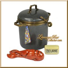 Lobster Pot with Lobster, Butter & Towel Limoges Box by Beauchamp Limoges, www.LimogesBoxCollector.com Limoges Box Specialists, collectible Limoges boxes for all occasions