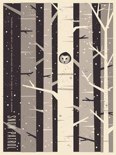 Benjamin Garner / snow patrol poster - such a cute idea. Gig Poster, Poster Art, Gravure Illustration, Illustration Art, Flat Design, Design Art, Illustration Inspiration, Snow Patrol, Grafik Design