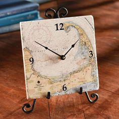 Nautical maps can inspire seaside daydreams as well as provide a wealth of information for safe sailing. Custom Nautical Tile Clock | National Geographic Store