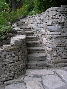 dry stacked stone wall and steps.  I really have a thing for beautifully dry stacked stone! Outdoor Stone Steps, Dry Stack Stone, Stacked Stone Walls, Dry Stone, Garden Paths, Brick Garden, Garden Landscaping, Landscaping Retaining Walls, Stone Retaining Wall
