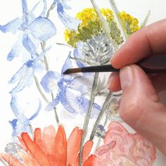Botanical Art, Ink, Etsy, Painting, Instagram, Paper, Wild Flowers, Picture Frame, Wall Prints