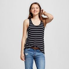 a1e2038228983 Mossimo Supply Co. Women's Striped Loose Tank Top - Mossimo Supply Black Tank  Tops,