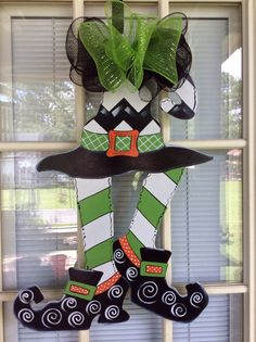 Halloween door hanger, front door decor, fall door hanger,  Witch legs with hat.  In stock!
