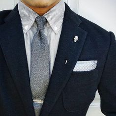blues and greys // suit, tie, tie bar