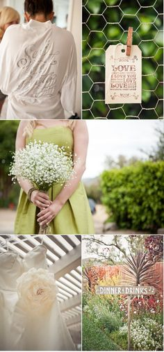 baby's breath bouquet with a green dress.  Could have eggplant ribbon and vice cersa for purple girls.