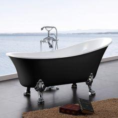 svart badkar med lejontassar