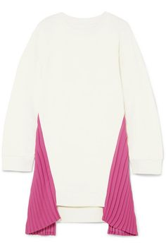 MM6 Maison Margiela | Pleated crepe-paneled cotton-jersey dress | NET-A-PORTER.COM