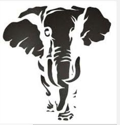 I feel that the stencil I saying that the elephant is tired and thirsty and he is trying to find water, think they used 3 layers. like this stencil because how big the elephant is. Stencil Animal, Elephant Stencil, Stencil Art, Elephant Pattern, Drawing Stencils, Bird Stencil, Damask Stencil, Elephant Art, Stencil Templates