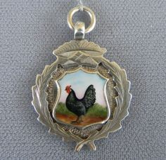 Vintage Sterling Silver Hand Painted Enamel Rooster Watch Fob Medal 1928