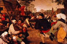 Pieter Brueghel the Elder. Peasant's Dance. Look at the lady's head covering on the right. Colour me interested!