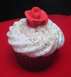Gift Boxed Red Velvet Rose Valentine Cupcake Soap. $9.00, via Etsy.