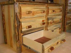 Log Dresser 6 drawer aromatic cedar bottoms by customlogfurniture