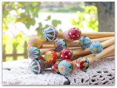 Wooden hand painted knitting needles set 10 inches by LambsEars