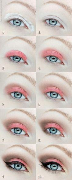Coral Eyeshadow | Colorful Eyeshadow Tutorials For Beginners