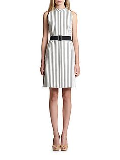 Akris Punto Pinstripe Belted Dress