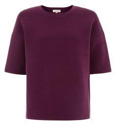 Hobbs | Kiana Sweater in violet pink (purple) | 86% cotton 12% polyamide 2% elastane Hand wash | Length 64.5cm | round neck Short sleeve | £79