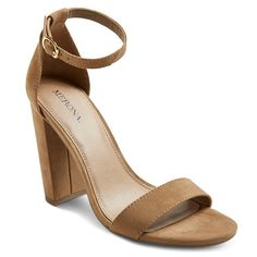 Women's Lulu High Block Heel Sandal Pumps with Ankle Straps Merona - Taupe (Brown) 12
