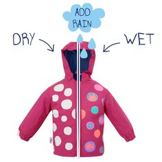 This is a Pink colour changing child's rain coat with a bright polka dot design.