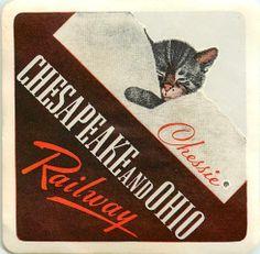 "CHESAPEAKE and OHIO Railroad ~ ""Chessie"" Cat Luggage Label"