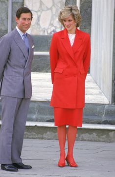 The Prince and Princess of Wales visit a church in Florence during their tour of Italy, April 1985. The Princess is wearing a suit by Jasper Conran. (Photo by Jayne Fincher/Princess Diana Archive/Getty Images) via @AOL_Lifestyle Read more: https://www.aol.com/article/entertainment/2017/03/30/old-photos-princess-diana-prince-charles-viral/22019148/?a_dgi=aolshare_pinterest#fullscreen