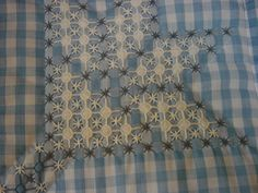Blue gingham wall hanging with chicken scratch embroidery. $22.00, via Etsy.