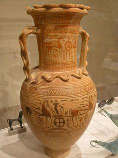 Terracotta neck-amphora Greek Attic Geometric fourth quarter of 8th century BCE