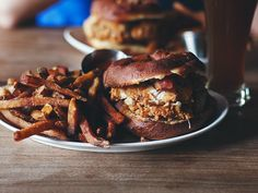 The Luther sandwich at GBD. A fried chicken sandwich with bacon between two halves of a maple doughnut, served with fries